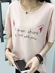 Real shot summer T-shirt women ladies summer 2017 new cartoon letters printed loose compassionate tide