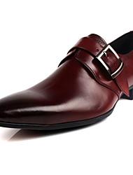 Men's Loafers & Slip-Ons Formal Shoes Cowhide Summer Casual Formal Shoes Low Heel Black Coffee 1in-1 3/4in