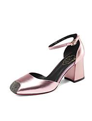 Femme-Mariage Habillé Soirée & Evénement--Gros Talon Block Heel-Confort Bride de Cheville Flower Girl Chaussures-Sandales-Cuir