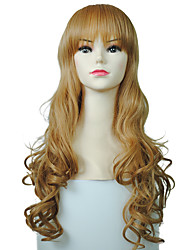 Deep Wave Blonde Wig Synthetic Fiber Long Women Cosplay Costume Hairstyle With Wig Cap