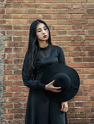 Women's Casual/Daily Simple Chiffon Dress,Solid Round Neck Midi Long Sleeve Cotton Fall Low Rise Micro-elastic Medium