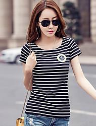 2017 printemps nouveau slim à manches courtes à rayures t-shirt femme bas de la chemise korean yards était mince vêtements