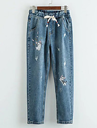 Women's Mid Rise Inelastic Jeans Pants,Simple Straight Embroidered Solid