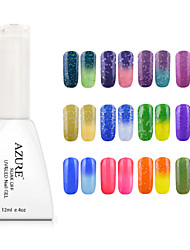 Gel UV para esmalte de uñas 12ml 1 Color Cambiante Empapa Brillante Esmalte Gel UV Top Coat Brillo y Brillantina Luz Neón y BrilloEmpapa