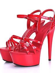 Damen-Sandalen-Lässig-PUKomfort-Schwarz Rot Rosa