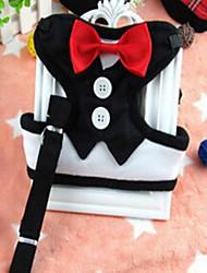 Коты Собаки Ремни Поводки Регулируется/Выдвижной Дышащий Безопасность Тренировки Бег Бант Ткань Черный