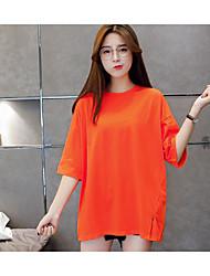 2017 лето новые корейские буквы напечатаны свободная блуза длинный участок футболку платье женщины