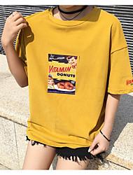 знак Ханго Чун пункт мультфильм напечатаны с коротким рукавом футболки письмо рыхлый с короткими рукавами тройник