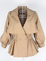 Women's Going out Casual/Daily Simple Spring Trench Coat,Solid Shawl Lapel Long Sleeve Long Polyester