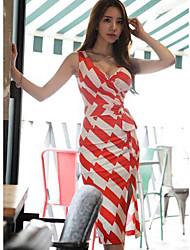 2016 лето новые корейские женщины тонкий моды сексуальный V-образным вырезом кружево платье нерегулярные полосы