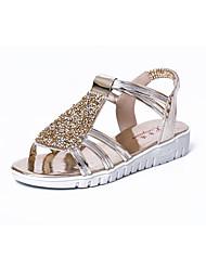 Women's Sandals Summer Comfort PU Casual Flat Heel Rhinestone Walking