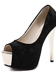 Damen-High Heels-Kleid-Vlies-Stöckelabsatz-Club-Schuhe-Schwarz Mandelfarben