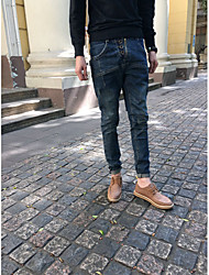 Men's Mid Rise Micro-elastic Jeans Pants,Simple Loose Solid