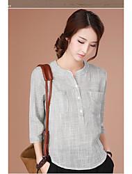 Algodão casual xadrez camisa feminina literária solta