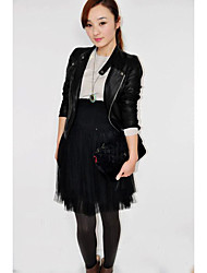 Women's Casual/Daily Street chic Fall Leather Jacket,Solid Shirt Collar Long Sleeve Regular Lambskin