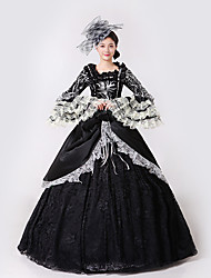 Steampunk®  Marie Antoinette Masquerade Victorian Queen Ball Gown Wedding Dress Reenactment Black Rococo Ball Gown