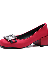 Women's Loafers & Slip-Ons Spring Summer Comfort Fleece Party & Evening Dress Casual Chunky Heel Rhinestone