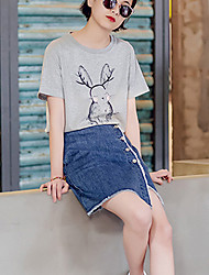 2017 summer round neck blouse with printing sisters cartoon pattern T-shirt female