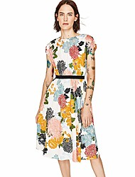 Women's Casual/Daily Simple Loose Dress,Floral Round Neck Knee-length Short Sleeve Cotton Summer Mid Rise Inelastic Thin