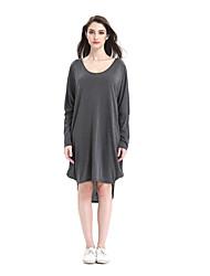 nouveaux plis en vrac v-cou de couleur unie lanterne modèles de robe longue de signe de moule extérieur