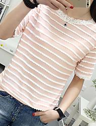 Signer 2017 printemps et l'été étudiants coréens en bas de la chemise de couture en dentelle manches courtes t-shirt blouses marée