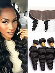 Vinsteen Malaysian Hair Loose Wave 4 Bundles with 13x4 Lace Frontal Closure 8A Unprocessed Malaysian Virgin Hair Natural Black Dyeable