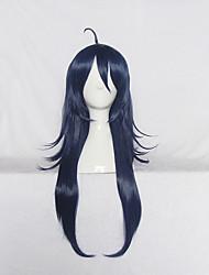Perruques de Cosplay Cosplay Cosplay Bleu Encre Longue Manga Perruques de Cosplay 70 CM Fibre résistante à la chaleur