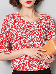 Women's Going out Casual/Daily Street chic Spring Summer Blouse,Print Round Neck ½ Length Sleeve Polyester Medium