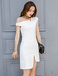 Signe 2017 printemps nouvelle européen et américain grande tempête robe jupe irrégulière robe oblique féminine printemps
