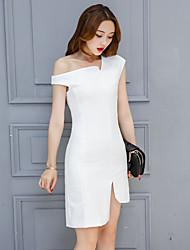 Sign 2017 spring new European and American big temperament dress skirt irregular oblique dress female Spring