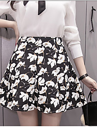 Women's High Rise Going out Mini Skirts A Line Floral Spring