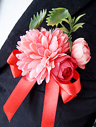 Wedding Flowers Free-form Roses Peonies Boutonnieres Wedding Party/ Evening Red / Fuchsia / Purple / Gray Satin