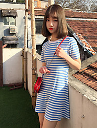 Sign College Wind long sections Slim was thin short-sleeved round neck striped dress fresh