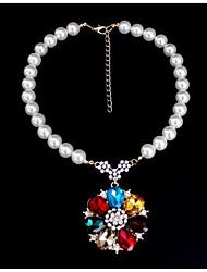 Women's Pendant Necklaces Statement Necklaces Imitation Pearl Imitation Diamond Imitation Pearl Gem Chrome Unique Design Euramerican