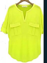 Verão Europa verão de mangas curtas v-pescoço algodão t-shirt camisa t-shirt no verão
