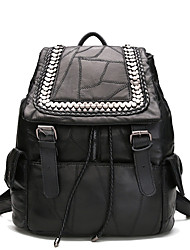 Preto xadrez pele de carneiro escritório escola mochila saco com rebite