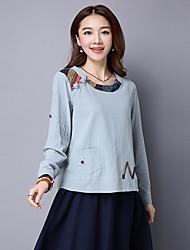 Damen Solide Chinoiserie Ausgehen T-shirt,Rundhalsausschnitt Langarm Baumwolle