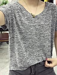 Damen Solide Aktiv Lässig/Alltäglich T-shirt,Rundhalsausschnitt Kurzarm Baumwolle