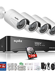 SANNCE® New 4CH CCTV NVR System POE 1080P Video Output Waterproof IP Camera with 1TB