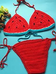 Women's Bandeau Bikini,Color Block Wool Blends