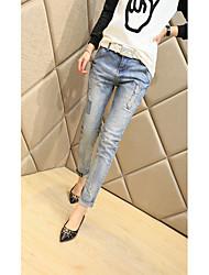 Senhora. Jeans nova coreano mulheres maré modelos usados significativamente fino pés harém calças calças femininas