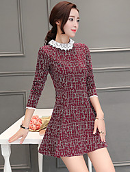 2017 Spring and Autumn long-sleeved dress Slim thin lotus sleeve doll collar knit long section of large spot