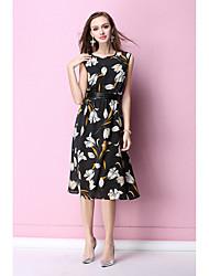 Damen Tunika Kleid-Lässig/Alltäglich Geometrisch Rundhalsausschnitt Knielang Ärmellos Baumwolle Sommer Mittlere Hüfthöhe Mikro-elastisch