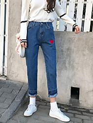 Sign new Korean Red hoops straight waist was thin jeans female student