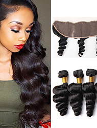 Vinsteen Brazilian Unprocessed Loose Wave Hair Extensions 4 Bundles with 13X4 inch Lace Frontal Closure Dyeable Great 8A Quality Hair Weave Bundles