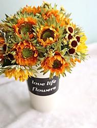 1 Ast Polyester Kunststoff Sonnenblumen Tisch-Blumen Künstliche Blumen 27