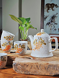 Summer Love Hand-Printed High Temperature Porcelain Tea Set Pot(500ml) and Cup (150ml each)
