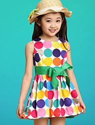 Girl's Beach Polka Dot Dress,Cotton Summer Sleeveless