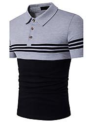 Для мужчин На каждый день Спорт Лето Polo Рубашечный воротник,Простое Активный Полоски Контрастных цветов С короткими рукавами,Хлопок