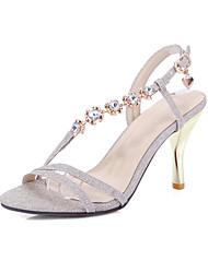 Damen-Sandalen-Lässig-Kunstleder-Stöckelabsatz-Leuchtende Sohlen-Gold Silber Rosa